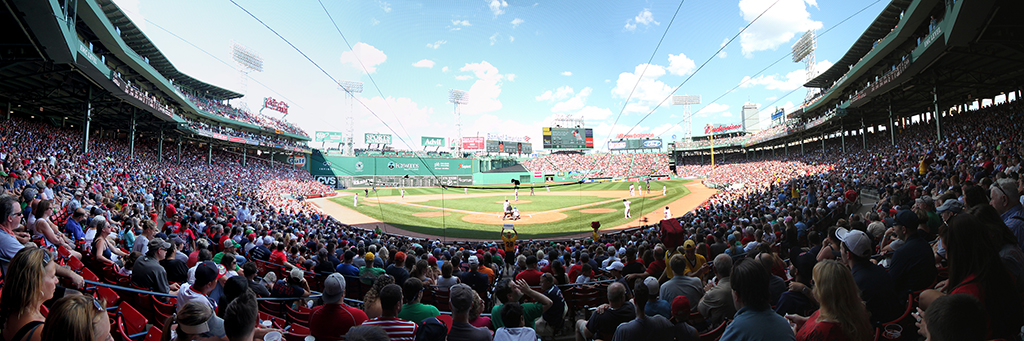 Fenway Park Panorama - Boston Red Sox - Home Plate During Game